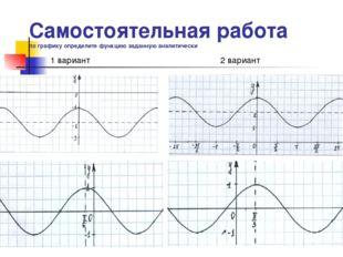 Самостоятельная работа по графику определите функцию заданную аналитически 1