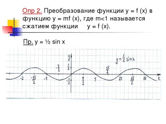 Опр 2. Преобразование функции y = f (x) в функцию y = mf (x), где m
