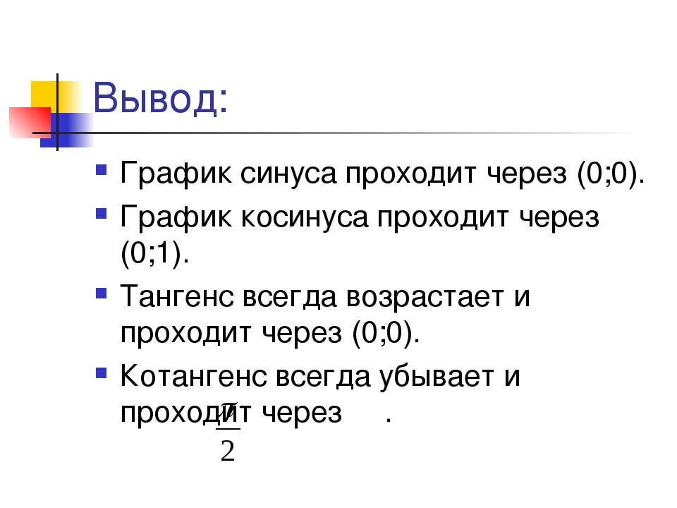 Вывод: График синуса проходит через (0;0). График косинуса проходит через (0;...