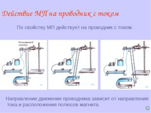 Действие МП на проводник с током По свойству МП действует на проводник с токо