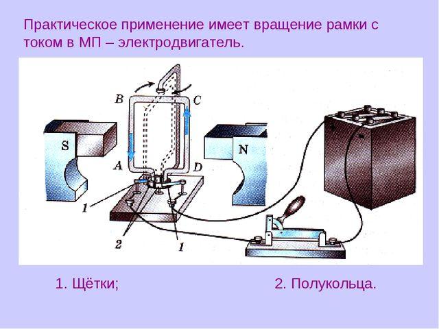Практическое применение имеет вращение рамки с током в МП – электродвигатель....