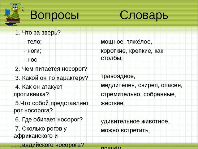 Вопросы Словарь 1. Что за зверь? - тело; - ноги; - нос 2. Чем питается носоро...