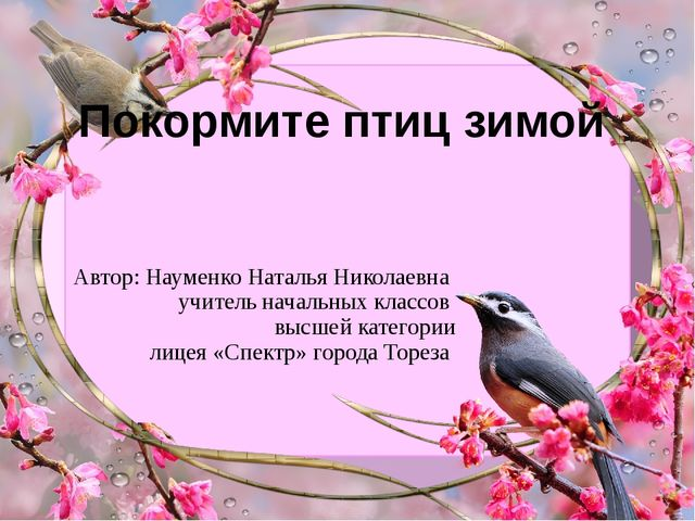 Покормите птиц зимой Автор: Науменко Наталья Николаевна учитель начальных кла...