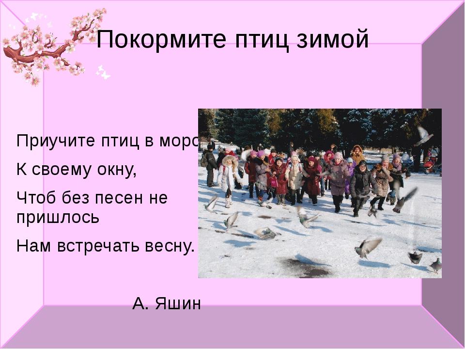Покормите птиц зимой Приучите птиц в мороз К своему окну, Чтоб без песен не п...