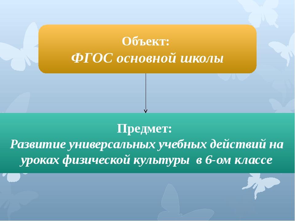 Объект: ФГОС основной школы Предмет: Развитие универсальных учебных действий...