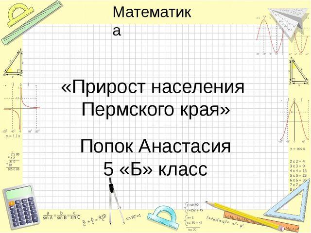 «Прирост населения Пермского края» Попок Анастасия 5 «Б» класс Математика