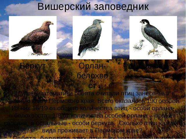 Вишерский заповедник На уроке математики ребята считали птиц занесенных в Кра...