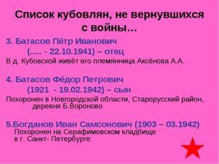 Список кубовлян, не вернувшихся с войны… 3. Батасов Пётр Иванович (..... - 22
