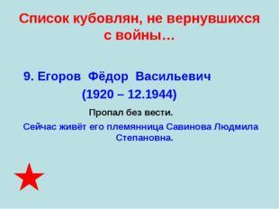 Список кубовлян, не вернувшихся с войны… 9. Егоров Фёдор Васильевич (1920 – 1