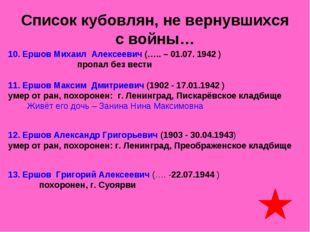 Список кубовлян, не вернувшихся с войны… 10. Ершов Михаил Алексеевич (….. – 0