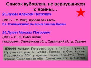 Список кубовлян, не вернувшихся с войны… 23.Лукин Алексей Петрович (1915 - .