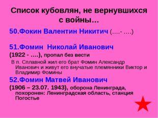 Список кубовлян, не вернувшихся с войны… 50.Фокин Валентин Никитич (….- ….) 5