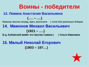 13. Левина Анастасия Васильевна (…. – ….) Кавалер многих наград, врач, вынос