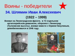 Воины - победители 34. Шлямин Иван Алексеевич (1922 – 1999) Воевал на Ленингр