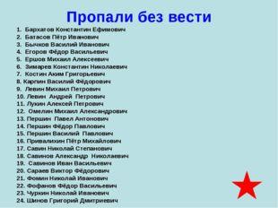 Пропали без вести 1. Бархатов Константин Ефимович 2. Батасов Пётр Иванович 3.