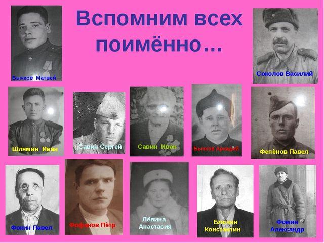 Вспомним всех поимённо… Бычков Матвей Шлямин Иван Фокин Павел Савин Сергей Лё...