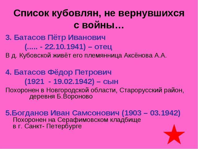 Список кубовлян, не вернувшихся с войны… 3. Батасов Пётр Иванович (..... - 22...