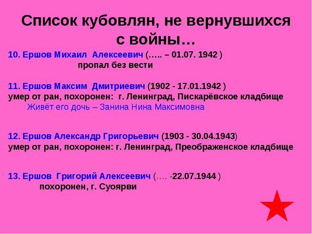 Список кубовлян, не вернувшихся с войны… 10. Ершов Михаил Алексеевич (….. – 0...