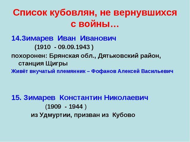 Список кубовлян, не вернувшихся с войны… 14.Зимарев Иван Иванович (1910 - 09....