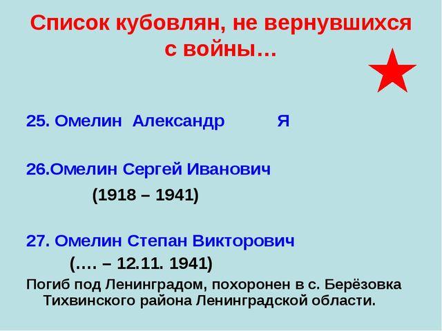 Список кубовлян, не вернувшихся с войны… 25. Омелин Александр Я 26.Омелин Сер...