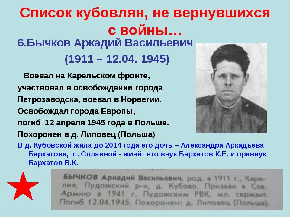 Список кубовлян, не вернувшихся с войны… 6.Бычков Аркадий Васильевич (1911 –...