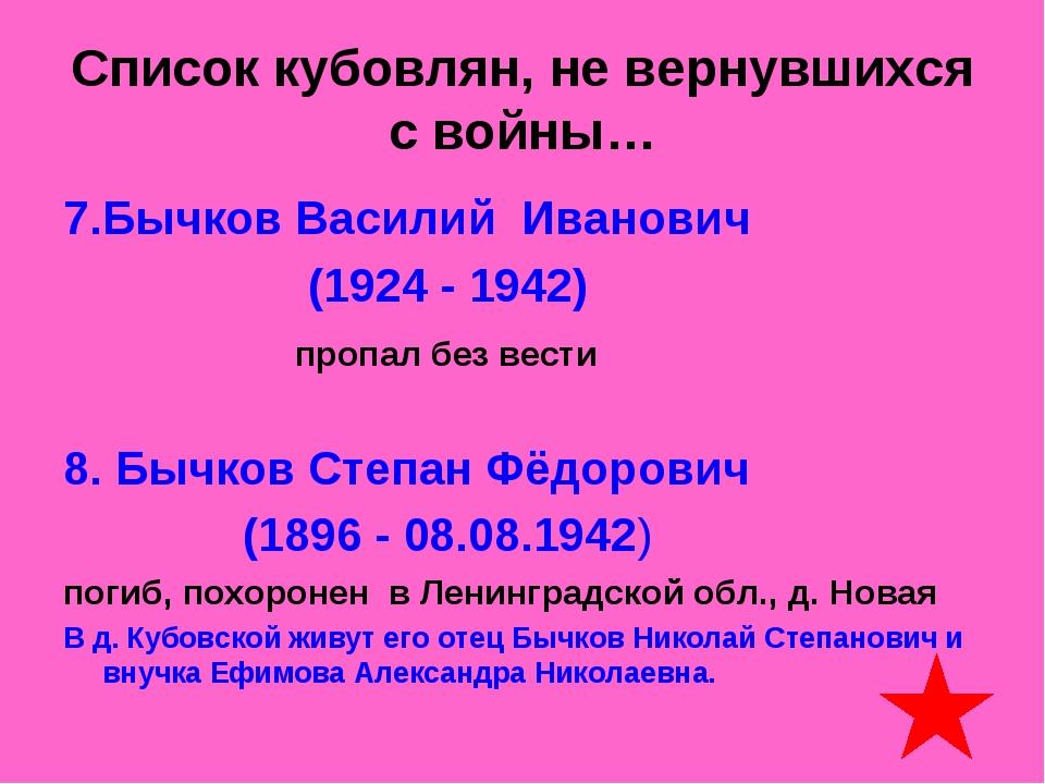 Список кубовлян, не вернувшихся с войны… 7.Бычков Василий Иванович (1924 - 19...