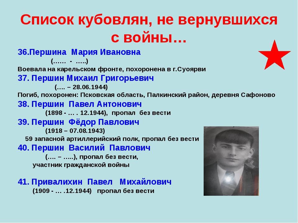 Список кубовлян, не вернувшихся с войны… 36.Першина Мария Ивановна (…… - …..)...