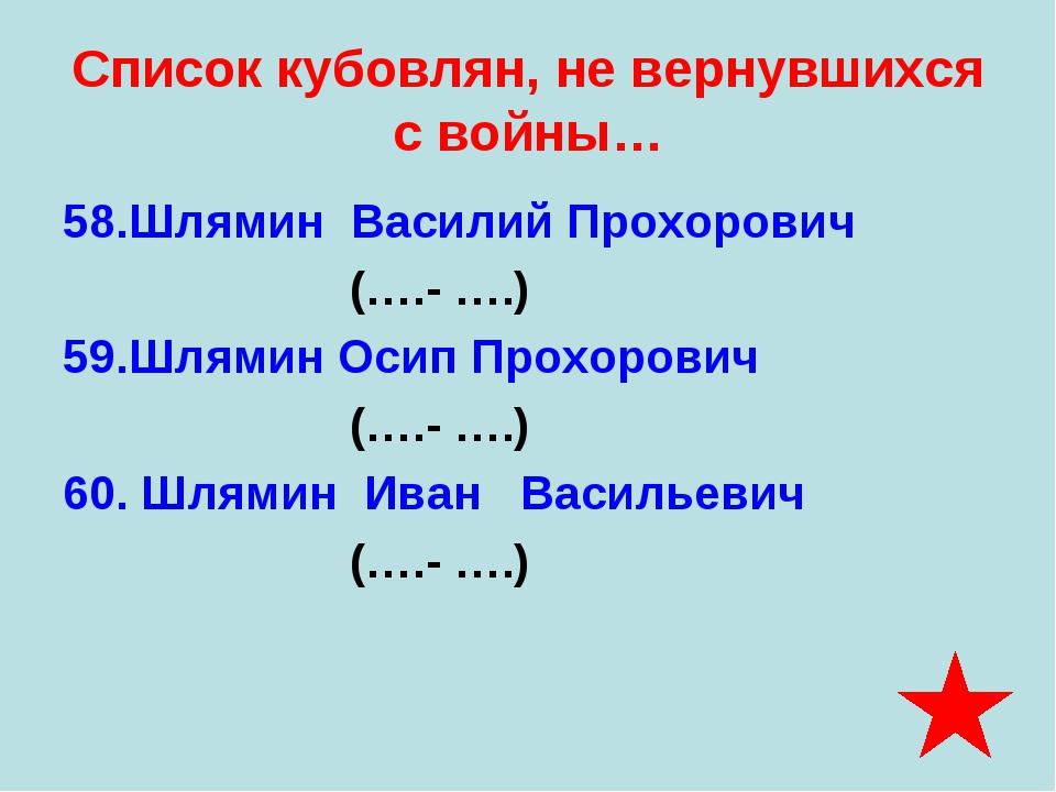 Список кубовлян, не вернувшихся с войны… 58.Шлямин Василий Прохорович (….- …....