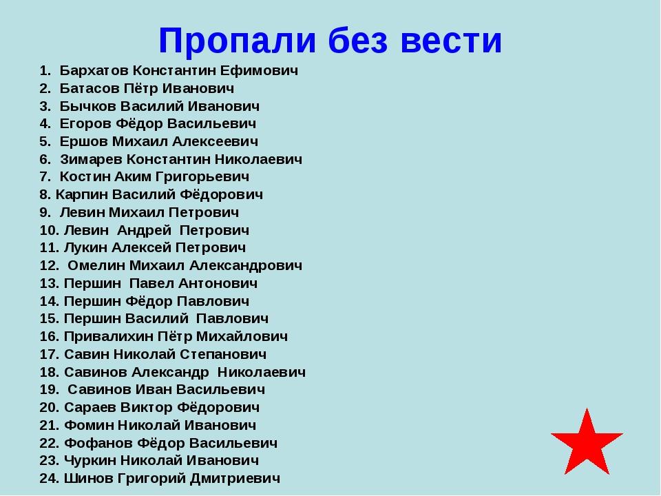 Пропали без вести 1. Бархатов Константин Ефимович 2. Батасов Пётр Иванович 3....