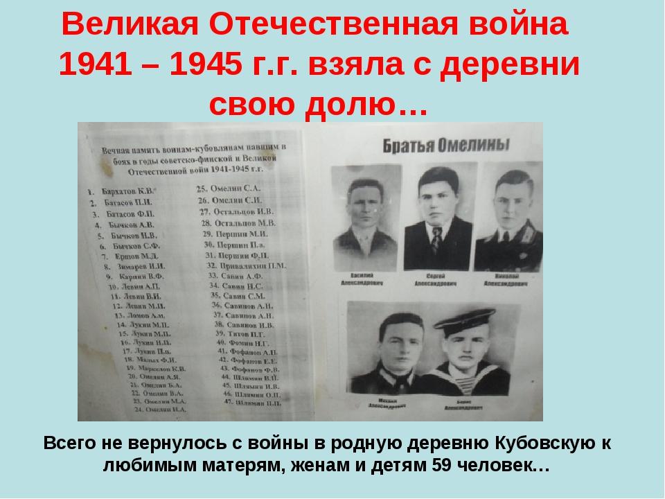 Великая Отечественная война 1941 – 1945 г.г. взяла с деревни свою долю… Всего...