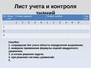 Лист учета и контроля знаний Ошибки: 1. сокращение без учета области определе