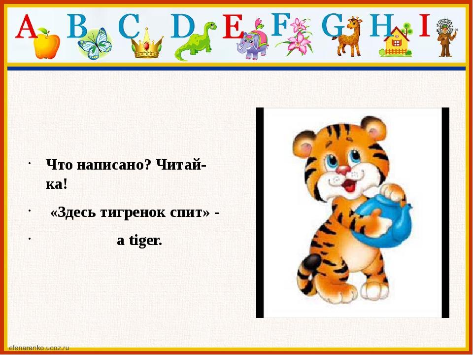 Что написано? Читай-ка! «Здесь тигренок спит» - a tiger.
