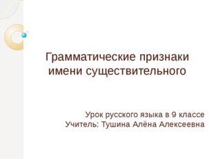 Грамматические признаки имени существительного Урок русского языка в 9 классе