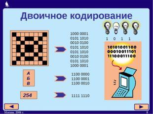 Москва, 2006 г. * Двоичное кодирование 1000 0001 0101 1010 0010 0100 0101 101