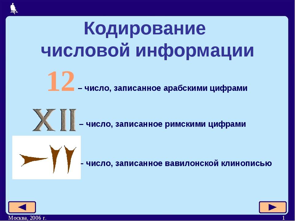 Москва, 2006 г. * Кодирование числовой информации 12 – число, записанное араб...