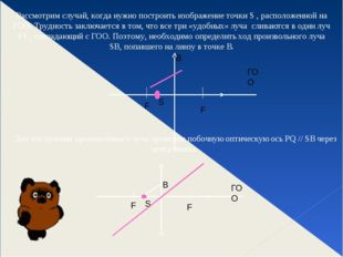 Рассмотрим случай, когда нужно построить изображение точки S , расположенной