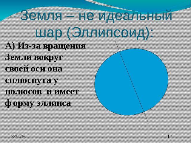 Земля – не идеальный шар (Эллипсоид): А) Из-за вращения Земли вокруг своей о...