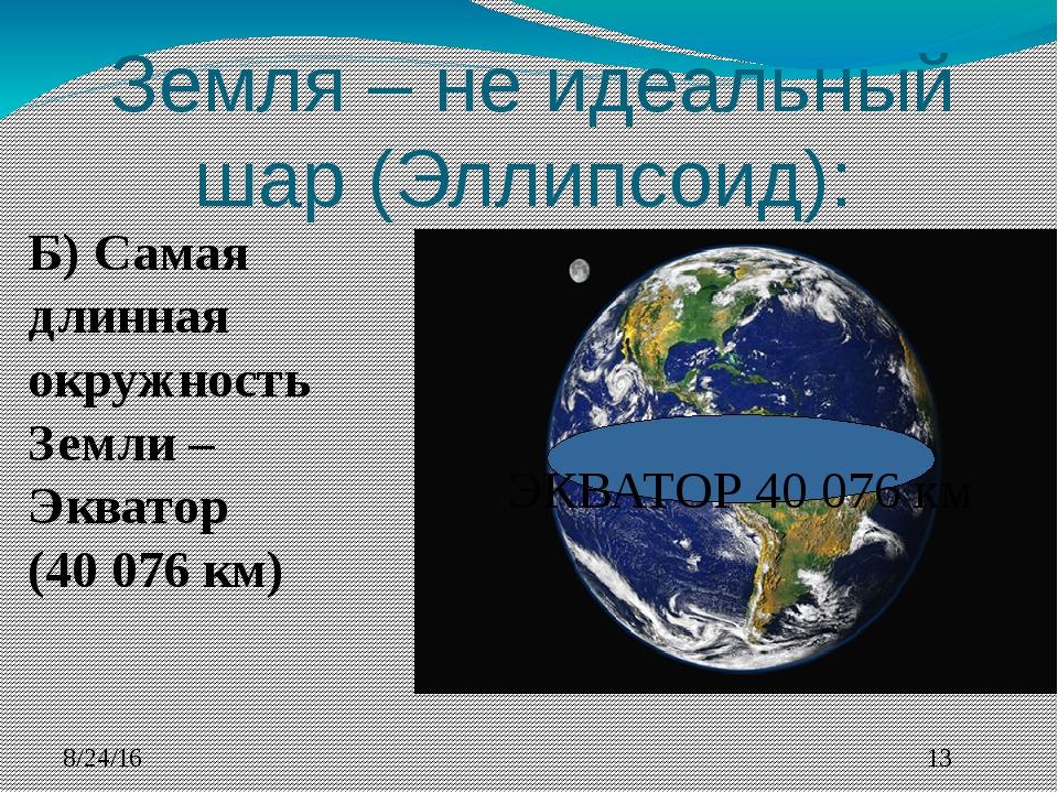 Земля – не идеальный шар (Эллипсоид): Б) Самая длинная окружность Земли – Эк...