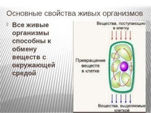 Основные свойства живых организмов Все живые организмы способны к обмену веще