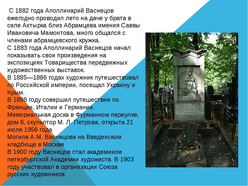 С 1882 года Аполлинарий Васнецов ежегодно проводил лето на даче у брата в се...