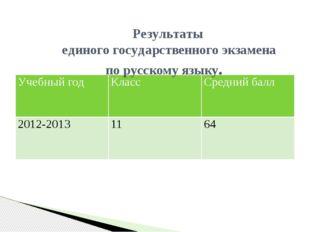 Результаты единого государственного экзамена по русскому языку. Учебный год