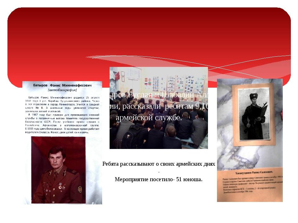 Наши выпускники Батыров Руслан и Шабалин Алексей ,отслужив в рядах Российско...