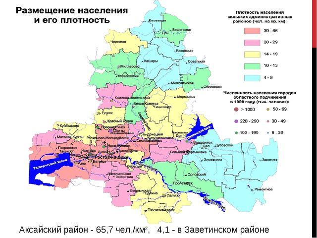 Аксайский район - 65,7 чел./км2, 4,1 - в Заветинском районе