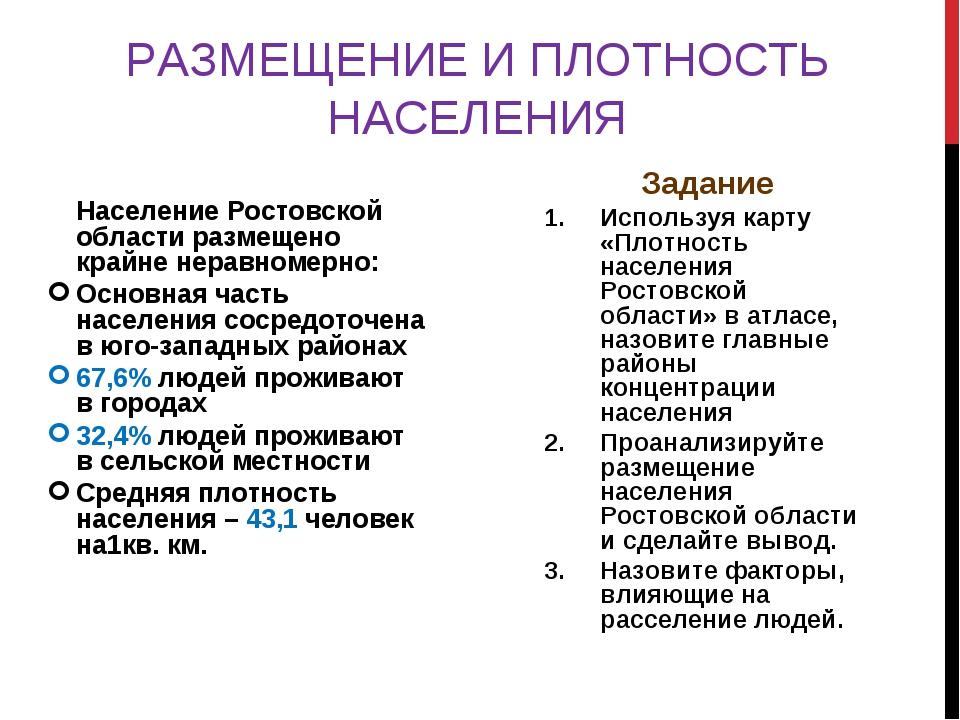 РАЗМЕЩЕНИЕ И ПЛОТНОСТЬ НАСЕЛЕНИЯ Население Ростовской области размещено крайн...
