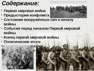 Содержание: Первая мировая война Предыстория конфликта Состояние вооружённых