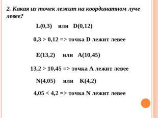 2. Какая из точек лежитна координатном луче левее? L(0,3) или D(0,12) 0,3 >