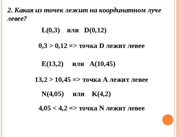 2. Какая из точек лежитна координатном луче левее? L(0,3) или D(0,12) 0,3 >...