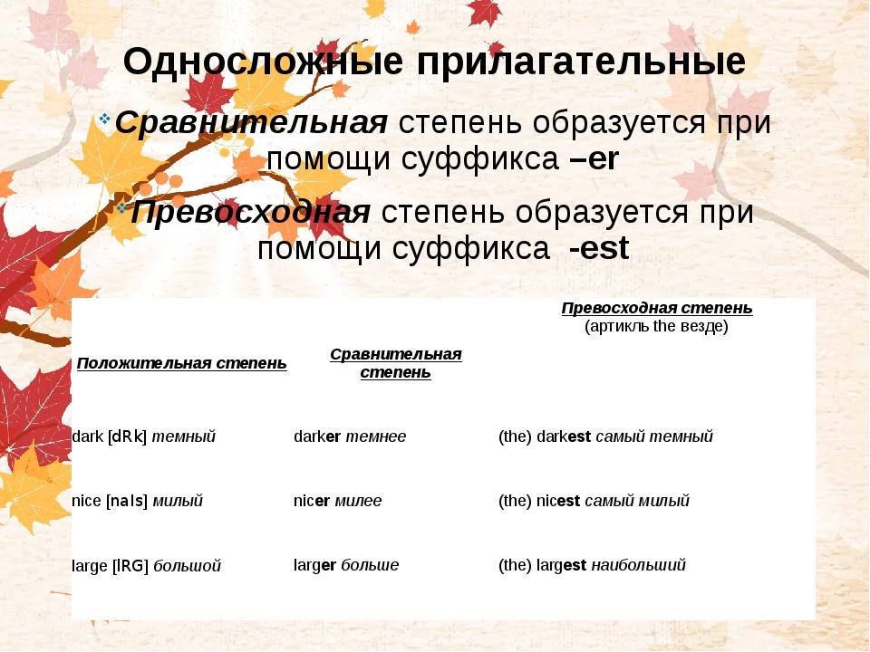 Односложные прилагательные Сравнительнаястепень образуется при помощи суффик...