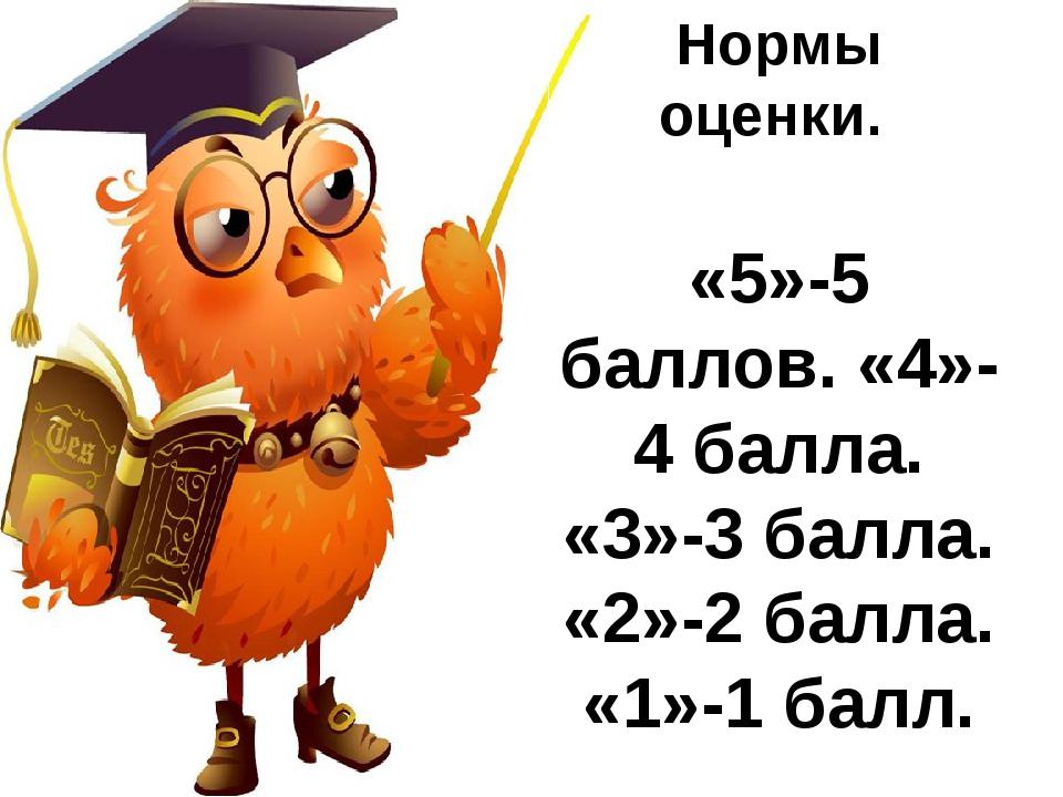 Нормы оценки. «5»-5 баллов. «4»-4 балла. «3»-3 балла. «2»-2 балла. «1»-1 балл.
