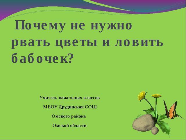 Почему не нужно рвать цветы и ловить бабочек? Учитель начальных классов МБОУ...